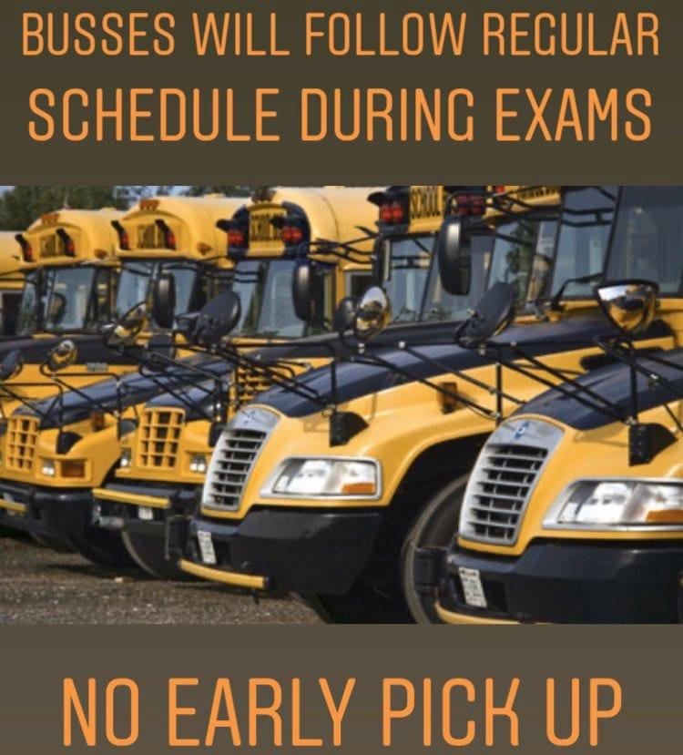 Reminder: Regular Bus Schedule During Exams