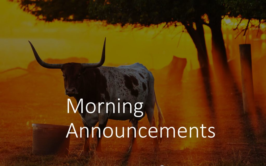 Morning Announcements: Tuesday, October 20th, 2020