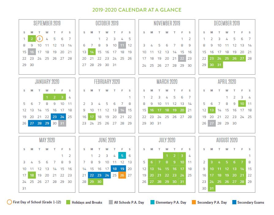 2019-2020 School Year Calendar