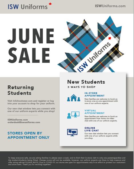 ISW Uniform Sale June 2020